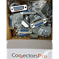 Pc Accessories - Connectors Pro 10 Sets Solder Type DB15 Female and Plastic Hoods, D-Sub Connector + Hoods, 20-Pack (10 DB15 Female + 10 Hoods)