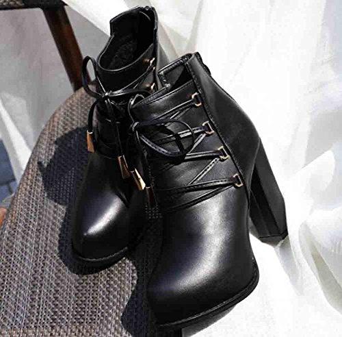 Easemax Womens Trendy Strappy Ronde Neus Platform Hoge Dikke Hak Lace Up Rits Laarzen Zwart