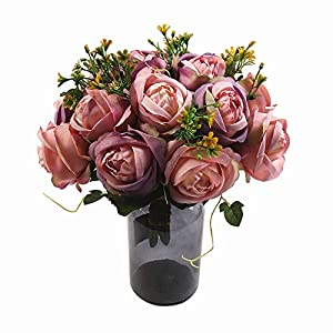 HiiARug Artificial Roses Flower Bouquets 7 Heads Bridal Wedding Bouquet 84