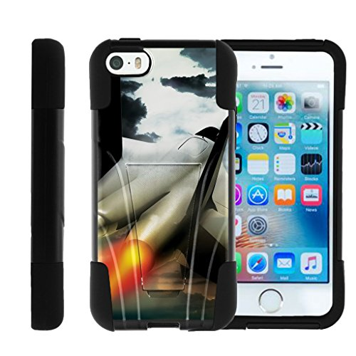 TurtleArmor | Compatible with Apple iPhone SE Case | iPhone 5/5s Case [Gel Max] Dual Layer Hybrid Kickstand Feature Absorber Silicone Cover War and Military - Fighter Jet (Best Fighter Jet Game Iphone)