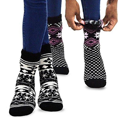 (TeeHee Super Warm Brushed Thermal Crew Socks 2 Pairs Pack (9-11, Snow Flake BLK/BLK))