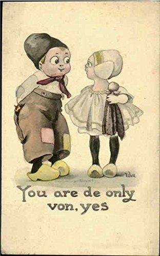 you-are-de-only-von-yes-dutch-children-original-vintage-postcard