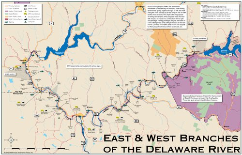 Amazon.com : Delaware River, East and West nches, 11x17 Fly ... on