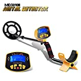 Lightweight Metal Detector MD3010II with LCD Display, Adjustable Stem and 8.2 Inch Waterproof Search Coil by SHUOGOU