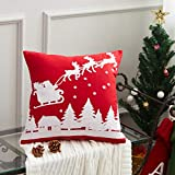 "Cassiel Home Christmas Decorative Throw Pillow Cover, 1 PCS Santa and his Reindeer Embroidery Deco Pillow Cover 18x18""/45x45cm"