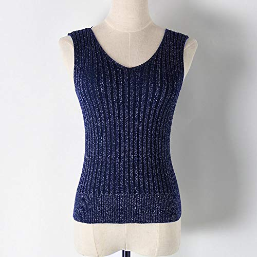 Amazon.com: Autumn Water Sexy Backless Knitted Tank Tops Women Club Silver Thread V-Neck Vest Elegant Back Bandage Elasticity Casual Tops Female: Kitchen & ...