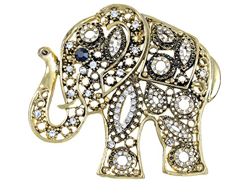 Alilang Antique Golden African Indian Clear Crystal Rhinestone Elephant Animal Fashion Pin Brooch