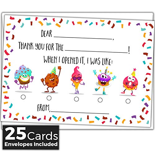 Kids Fill in the Blank Thank You Cards - 25 Cards Including Envelopes - Fun Gender Neutral Thank You Notes For Boys or Girls