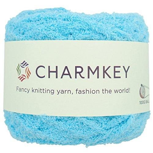 (Charmkey Shaggy Fur Yarn Baby Soft 5 Bulky Fuzzy 100 Percent Polyester Velvet Knitting Yarn 12 Ply for Fluffy Dolls Blanket Furry Amigurumi Toys, 1 Skein, 3.53 Ounce (Aruba Blue))