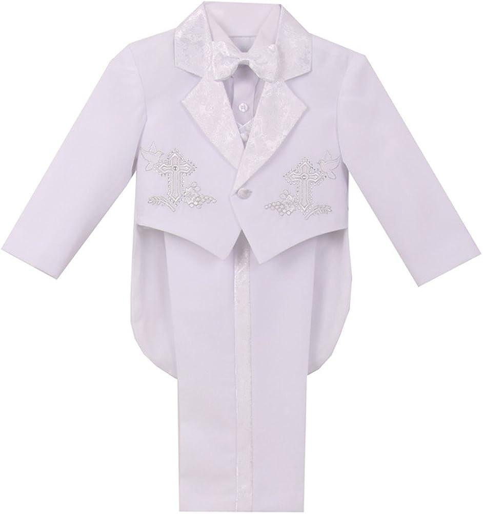 Little Boys White Cross Detail Jacket Vest Pants Shirt Bow Tie Baptism Set 3T-5