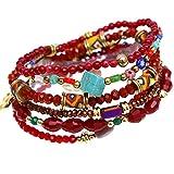 tom+alice Fashion Natural Gemstone Multilayer Bracelet for Women Bohemian Stretch Bracelet Customized Style Chrismas Jewerly/Bridesmaid Gift Gold-Plating