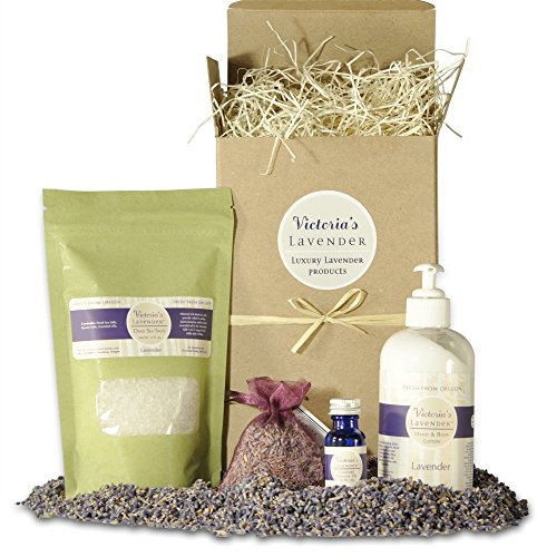 Victoria's Lavender Luxury Spa Gift Set – Lavender Bath Salts, Luxury Lotion, Lavender Essential Oil, and Sachet- Handmade in USA