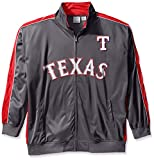 MLB Texas Rangers Men's Team Reflective Tricot Track Jacket, 2X/Tall, Charcoal/Red