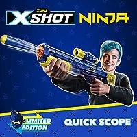 XShot Ninja Quick Scope Foam Dart Blaster (12 Darts, Dog-Tag, 3 Practice Cans) Limited Edition by ZURU