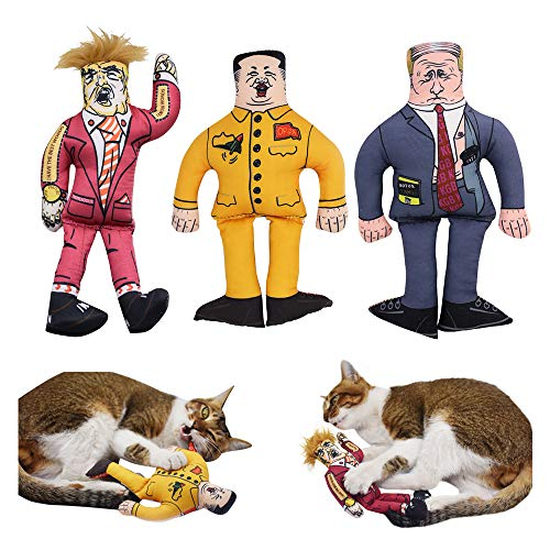 3 Presidents in 1 Packs Funny Cat Kicker Toy for Indoor Kitten, Donald Trump, Vladimir Putin, Kim Jong Un Best Gift for Both Cats and Friends (3 Toys)