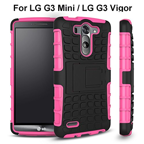 LG G3 Vigor Case, Sophia Shop 2 in 1 Heavy Duty Dual Layer Case with Built-in Kickstand, TANK Slim Fit Hybrid PC Hard Armor Back with Black Soft TPU Protective Cover Case for LG G3 Vigor 5 Inch Screen (Hot Pink)