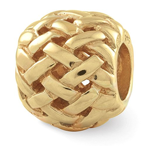 Jewels By Lux 925 Sterling Silver Gold-Plated Reflections Basketweave Bali Bead (Ss Bali Bead)