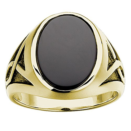 Yellow Gold Oval Onyx - 4