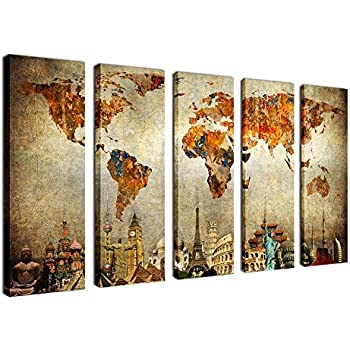 Amazon yearainn canvas prints wall art world map picture print canvas wall art prints vintage world map painting canvas prints 5 piece canvas art nautical gumiabroncs Choice Image