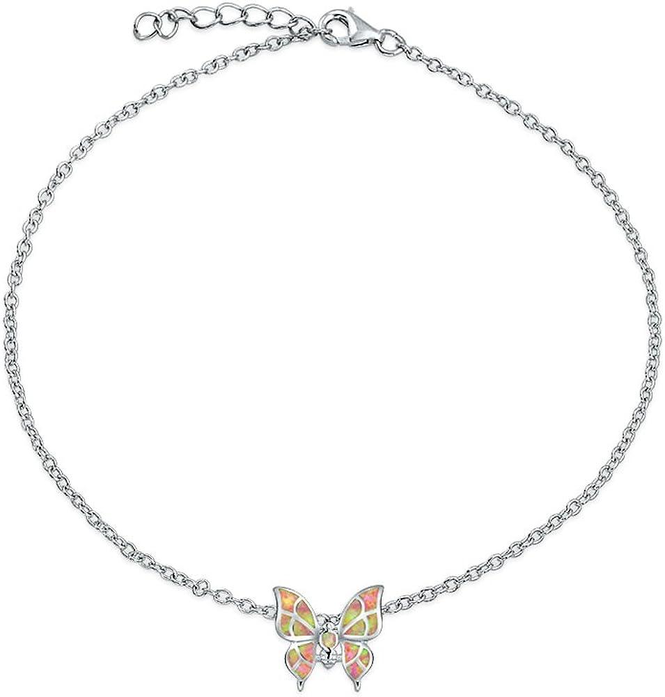 Mariposa Rosada Creado Opal Encanto Pulsera De Plata Esterlina 925 Mujer Octubre Ajustable Piedra De Nacimiento