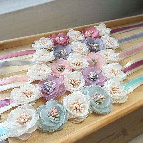 No Fade Artificial Handmade Camellia Bridesmaids Wristlets, Wedding Decoration Soft Silk Wrist Flowers with Ribbon from Hoocozi, 5Pcs, Assorted Color