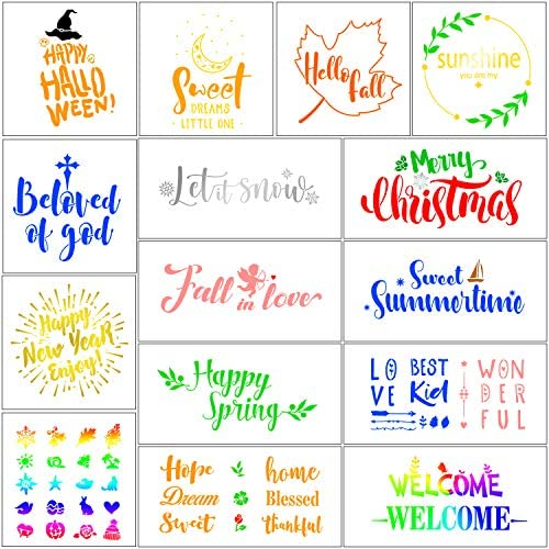 Art Projects Crafts 3 PCS Welcome Stencils 21 PCS Seasonal Welcome and Home Sign Stencils Set 15PCS Seasonal Holiday Stencils 3 PCS Sweet Home Stencils Reusable Templates for Painting on Wood