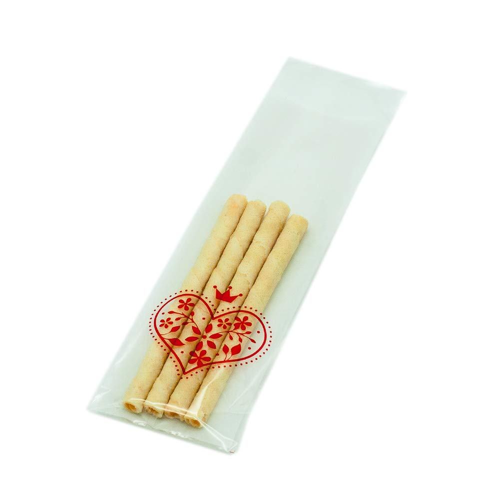 Syndecho 100pcs Cello Long Treat Bags 2.3''x7'' Resealable Bakery Bags for Christams Halloween Party (White Heart)
