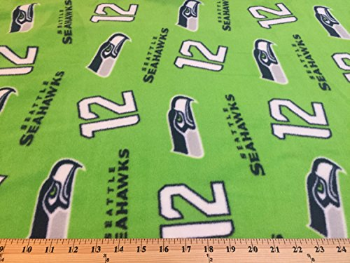 NFL Seattle Seahawks Green The 12's Fleece Fabric by the yard