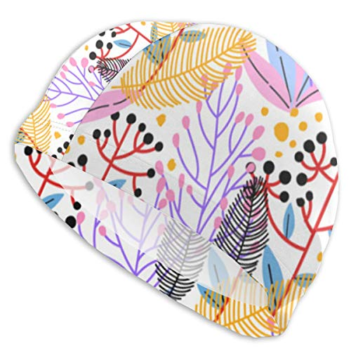 (Vector Floral Pattern Short Hair Adult Swim Cap Youth Teen Swimming Hat)