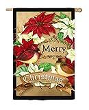 Cheap Evergreen Poinsettia Wreath Christmas Suede House Flag, 29 x 43 inches