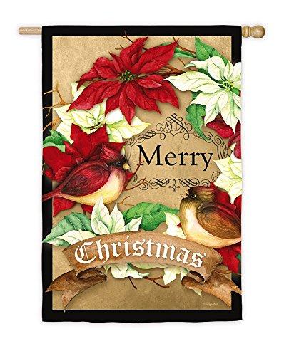 Evergreen Poinsettia Wreath Christmas Suede House Flag, 29 x