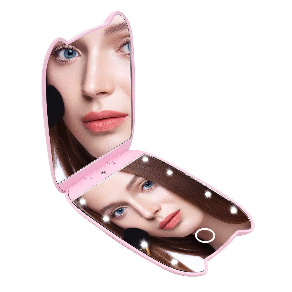 Specchio Compatto Specchio da Viaggio ingranditore Yuhtech Specchio Pieghevole da Viaggio Specchio ingrandente per Il Trucco Illuminato 2X Forma di Orecchie di Gatto Black