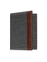 Fintie Passport Holder Travel Wallet RFID Blocking Vegan Leather Card Case Cover, Denim Charcoal