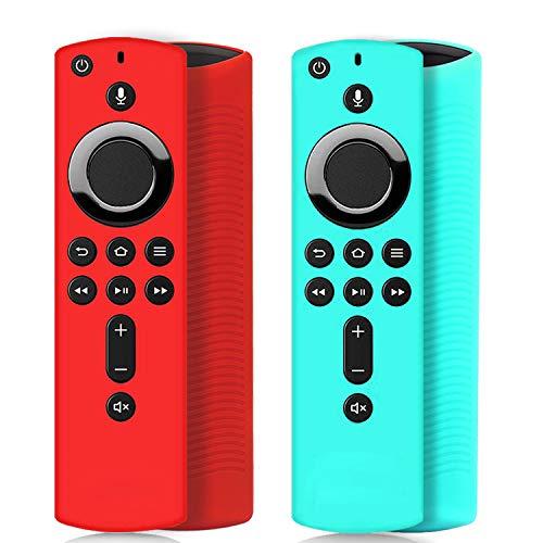 Wevove SiliconeRemote Casefor4k Firestick, Firestick Remote Cover, Firestick with Remote for Firetv (3rd Gen)/Firetv Cube[3Pack] (red&Sky Blue)