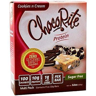 ChocoRite - High Protein Diet Bar   Cookies & Cream   Low Calorie, Low Fat, Sugar Free, (5/Box)