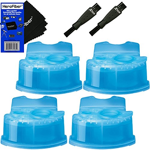 Braun Clean & Renew Refill Cartridges, Replacement Cleaner, Cleaning Solution (4 pack) for Series 3, Series 5, Series 7 & Series 9 + Double Ended Shaver Brush + HeroFiber Ultra Gentle Cleaning (Shaver Cleaner Refill)