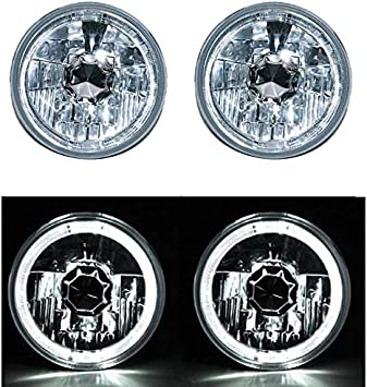 5-3//4 Clear White SMD LED Halo Halogen Light Bulb Metal Headlight Angel Eye Pair
