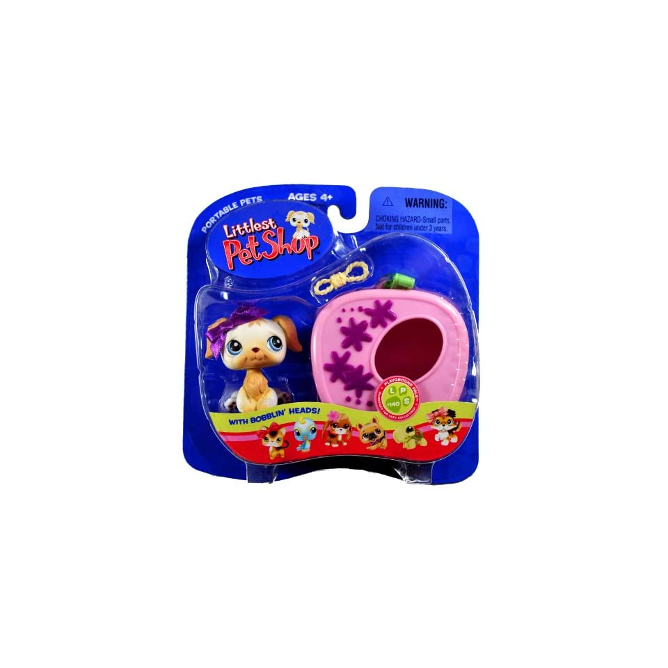 Hasbro Year 2005 Littlest Pet Shop Portable Pets Playground Pals Series Bobble Head Pet Figure Set #140   White Golden Retriever Puppy Dog with Purple Bow, Rope Toy and Cozy Carrier (51842)