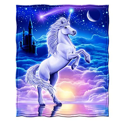 (Dawhud Direct Unicorn Fleece Throw Blanket)