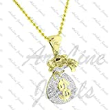 ArtLine Jewels Round Cut Diamond 14k Yellow Gold Plated Dollars Bag Pendant With 18'' Inch Chain