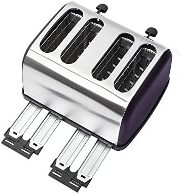 Ovation Matte Purple & Brushed Steel 4 Slice Wide Slot Multi Function Toaster with Defrost & Reheat Function, Removable Crumb Tray & Browning Control