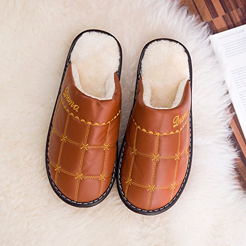 CWAIXXZZ pantoufles en peluche Des couples en gros Chaussons en coton épais femelle home intérieur cuir, doux et chaud hiver home chaussons hommes et accueil ,44-45 (43-44 pieds), brown