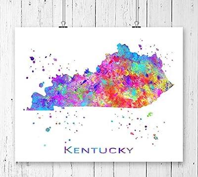Kentucky Map Art Print, USA States Map, Watercolor Art Print, Archival Art Print, Wall Decor, Wall Art, Watercolor Art, Office Decor, Kids Room Decor ( UNFRAMED)