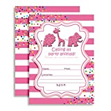 Amanda Creation Animal Cookies and Crackers Circus Themed Birthday Party Invitations Set of 20 with envelopes