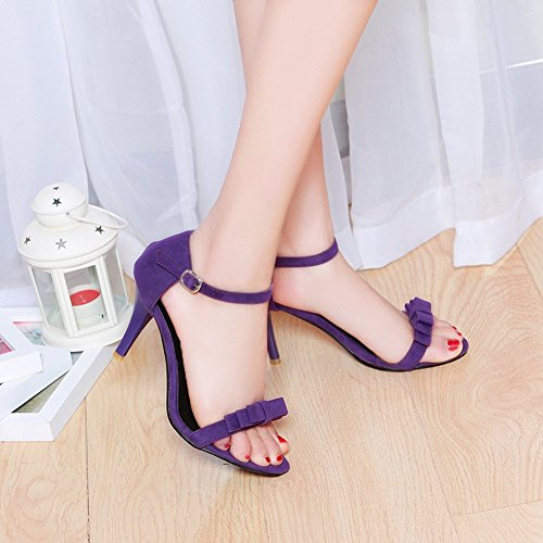YE Women's Open Toe Stiletto High Heels Sandals Buckle with Bow Summer Court Shoes Purple CnluGLz