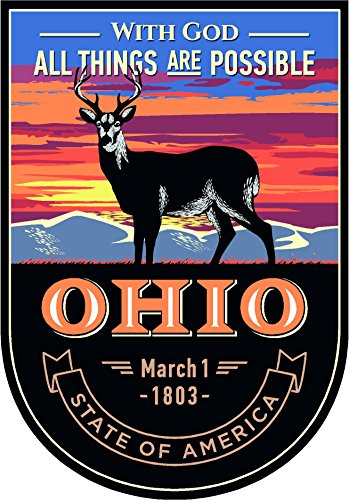 State animal Ohio night 4x5.5 inches sticker decal die cut vinyl - Made and Shipped in USA ()
