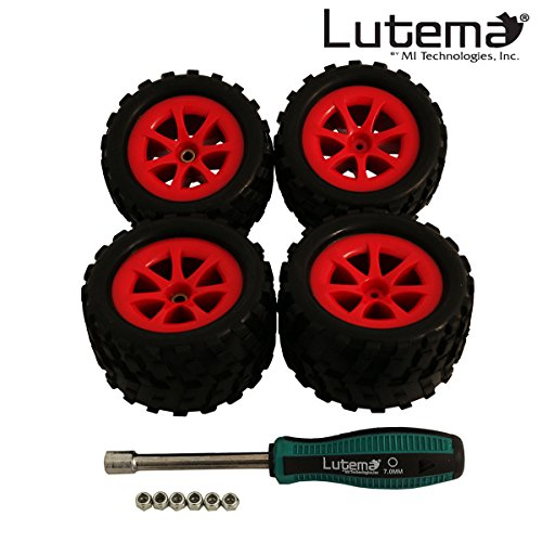 Lutema Hyp-R-Baja 2.4Ghz Big Bruiser Complete Set of Color Wheels With Tires - Red (Remote Control Car Lutema)
