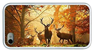 Hipster iPhone 4 case personalize Deers Autumn TPU White for Apple iPhone 4/4S