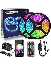 15 M LED Strip Light, Slimme Bluetooth APP-Bediening en Afstandsbediening, Dimbaar,Muzieksynchronisatie,RGB,5050,12 V,16 Miljoen Kleuren,28 Stijlen,Veelkleurige LED Lamp Met,voor Huis, Feest, Bar, TV
