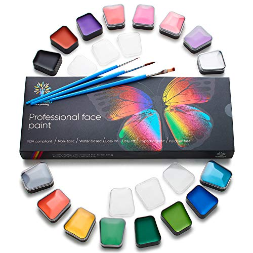 Face Paint Kit - Body Paint Set - Non-Toxic & Hypoallergenic - Cosplay Makeup Kit - Easy to Apply & Remove - Professional Face Painting Kit for Kids & Adults]()
